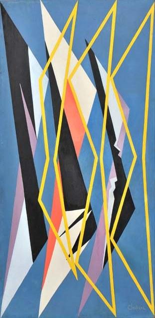 1951_Composizione geometrica_Olio su faesite_cm 135×65